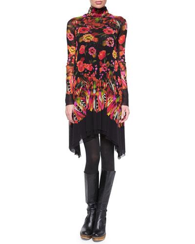 Long-Sleeve Turtleneck Rose & Feather Print Dress