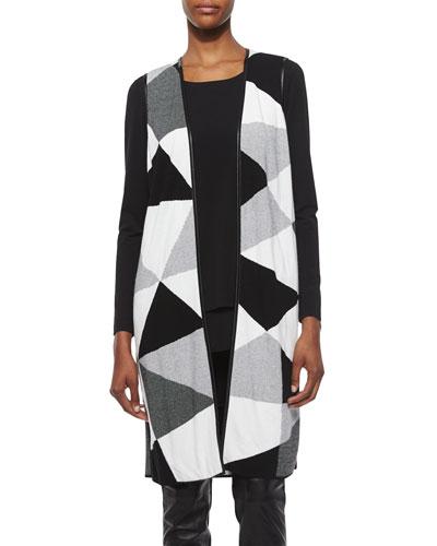 Geo-Jacquard Long Vest, Black/Multi
