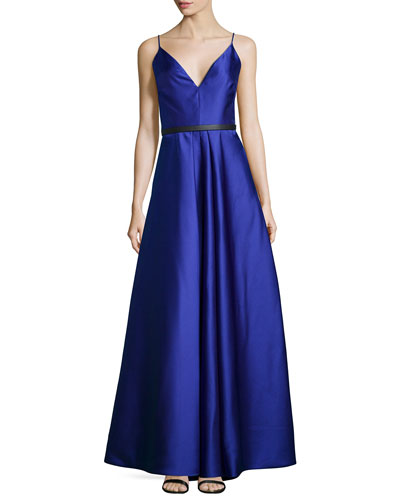 Sleeveless Belted Mikado Ball Gown