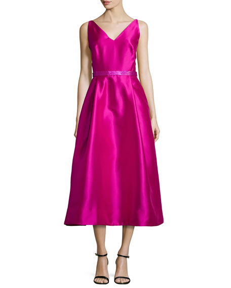ML Monique Lhuillier Sleeveless Beaded Tea-Length Dress