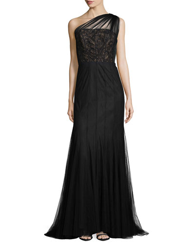 One-Shoulder Lace Bodice Tulle Gown