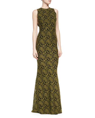 Roxie Lace Diamond-Back Dress, Olive