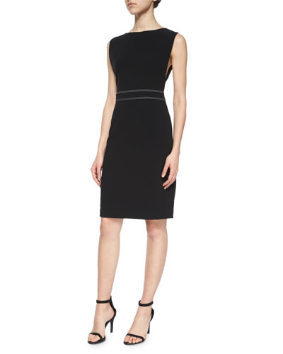 Minaeon Contrast-Trim Crepe Sheath Dress