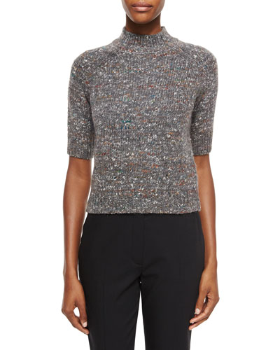 Jodi B. Paella Half-Sleeve Sweater, Gray Mix
