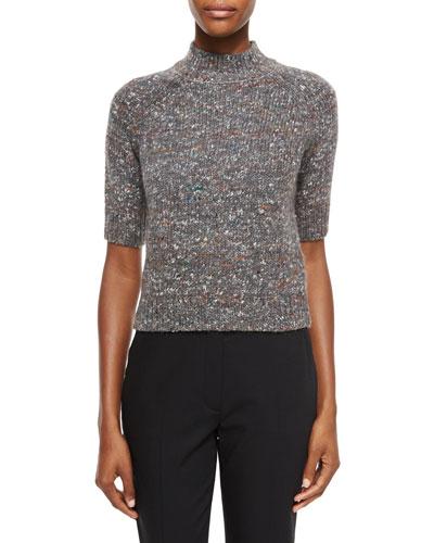 Jodi B. Paella Half-Sleeve Sweater, Gray Mix