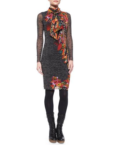 Long-Sleeve Feather-Print Dress W/ Scarf