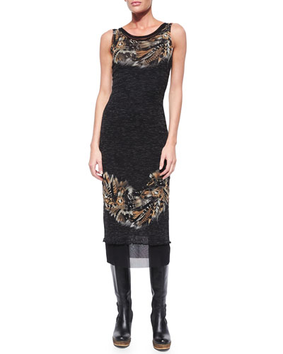 Sleeveless Feather-Print Midi Dress
