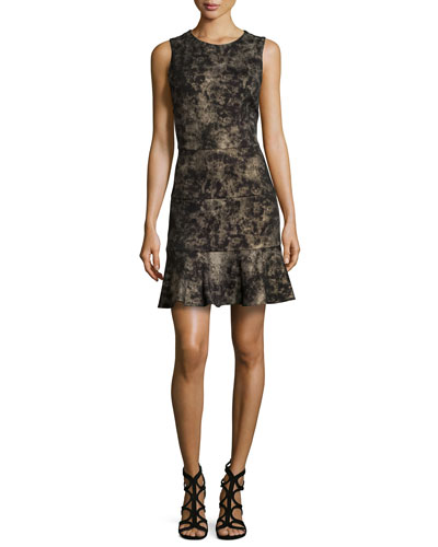 Reed Smudge Glazed Ponte Dress, Black/Gold