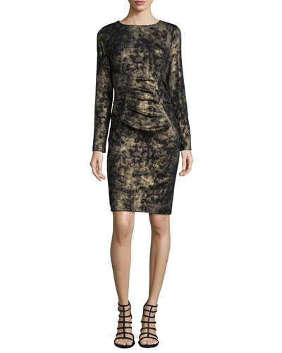 Smudge Glazed Ponte Dress, Black/Gold