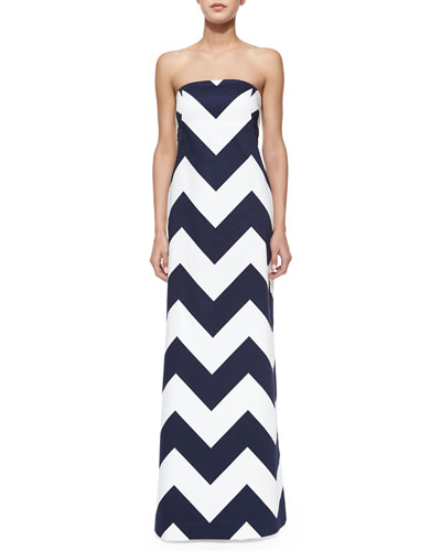 Blari Strapless Chevron-Stripe Gown