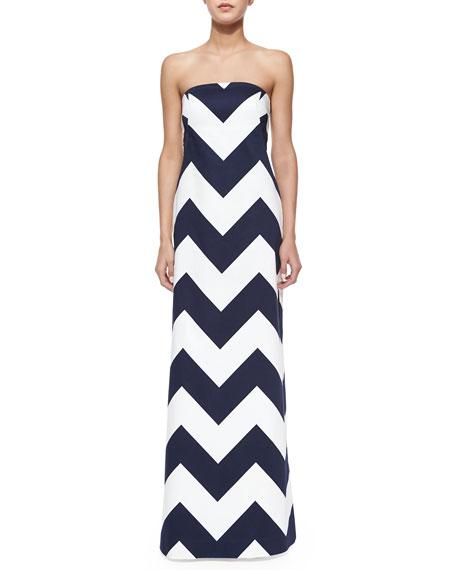 Milly Blari Strapless Chevron-Stripe Gown | Neiman Marcus