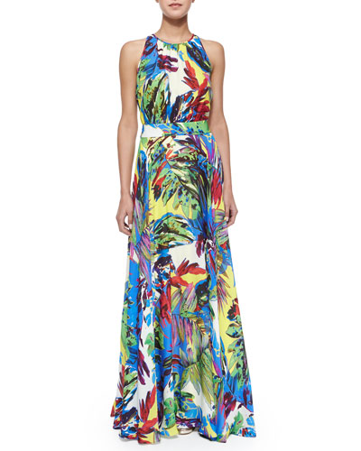 Arabelle Floral-Print Halter Maxi Dress
