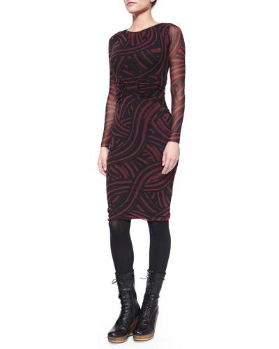 Long-Sleeve Paint-Print Ruched Sheath Dress