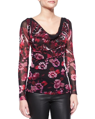 Long-Sleeve Draped Floral-Print Top
