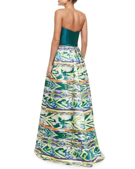 Strapless Tribal-Skirt Combo Gown