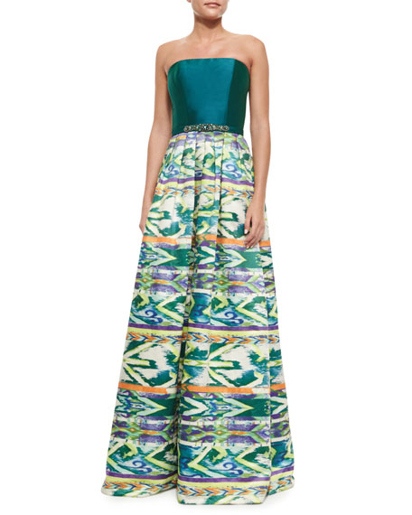 TheiaStrapless Tribal-Skirt Combo Gown