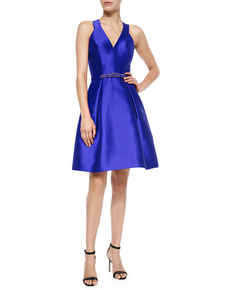 Sleeveless V-Neck Jeweled-Waist Cocktail Dress