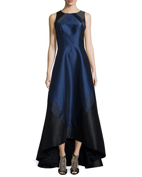 Theia Sleeveless Colorblock High-Low Gown, Midnight