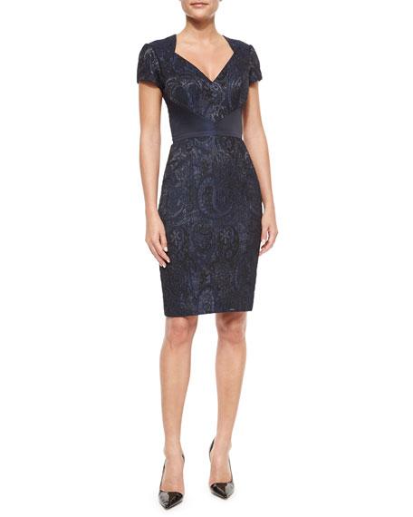Monique Lhuillier Paisley Cutout-Back Body-Conscious Dress