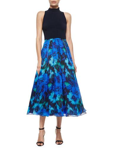 Sleeveless Floral Combo Dress, Lapis