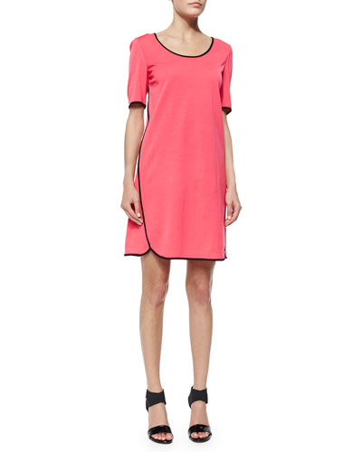 Short-Sleeve Shift Dress W/ Piping