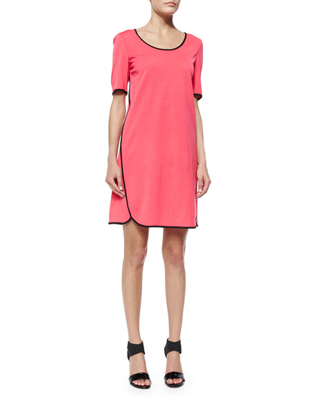 Misook Short-Sleeve Shift Dress W/ Piping