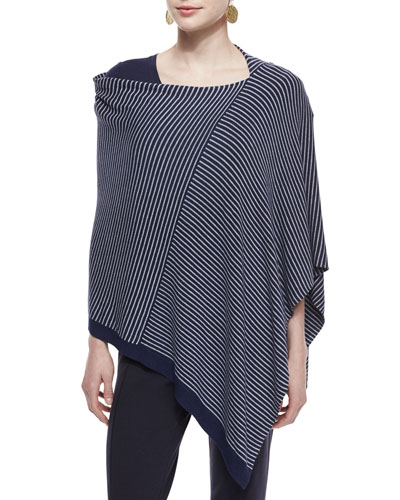 Cozy Stretch Striped Poncho, Petite