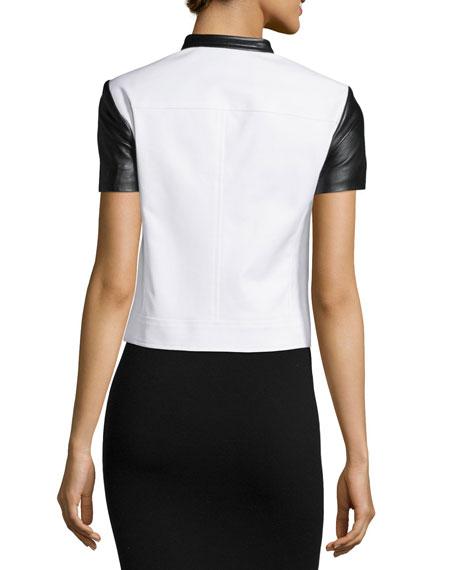 Short-Sleeve Mixed-Media Jacket