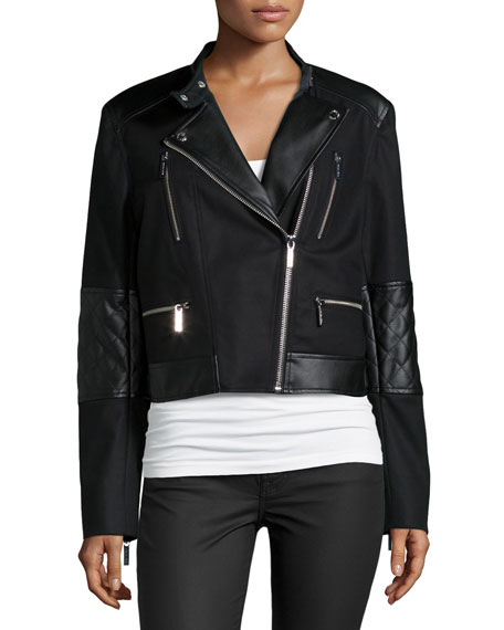 Combo Moto Jacket W/ Faux-Leather Detail