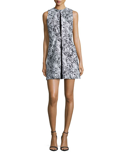 Sleeveless Printed Pleat-Front Party Dress