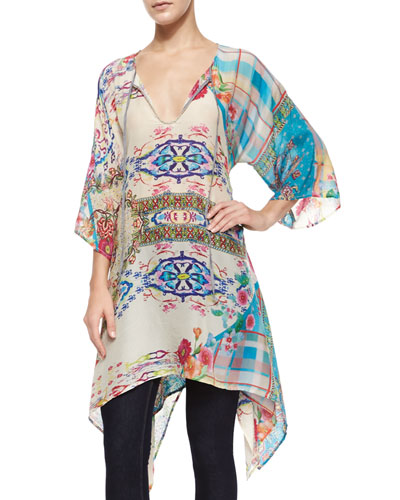 Mona 3/4-Sleeve Printed Georgette Tunic, Women