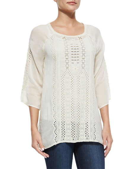 Johnny Was Collection Liya 3/4-Sleeve Georgette Tunic, Shell,