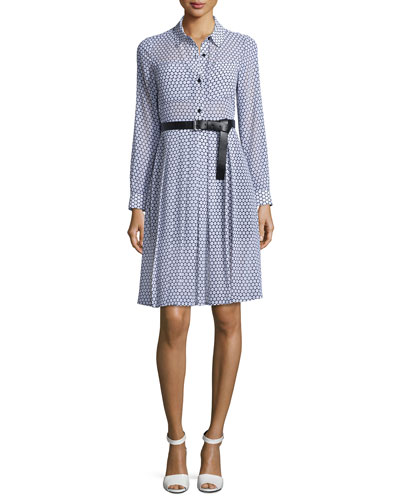Perrin Dot Long-Sleeve Shirtdress