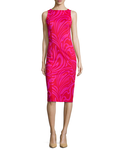 Cynthia Paisley-Print Sheath Dress