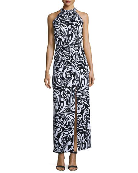 MICHAEL Michael KorsHalter Printed Maxi Dress