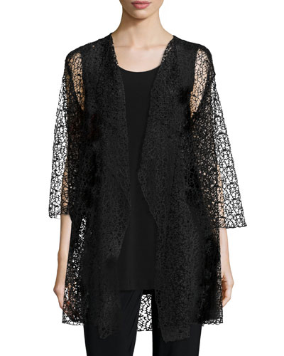 3/4-Sleeve Crochet Lace Jacket