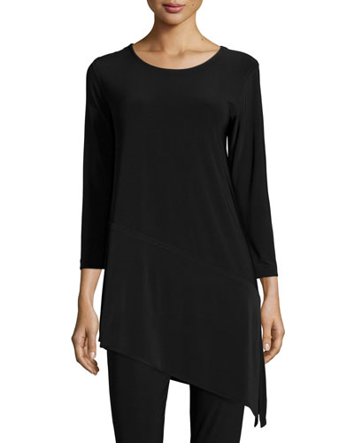 3/4-Sleeve Angled Long Tunic, Petite