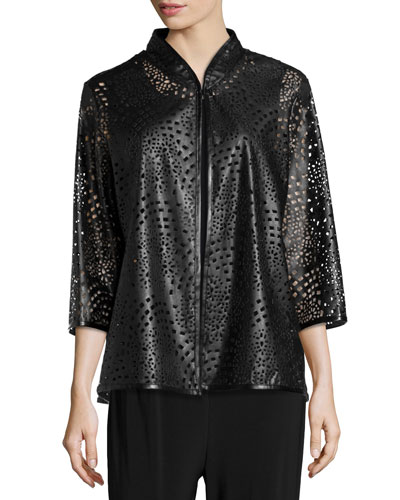 Laser-Cut Faux-Leather Jacket, Petite
