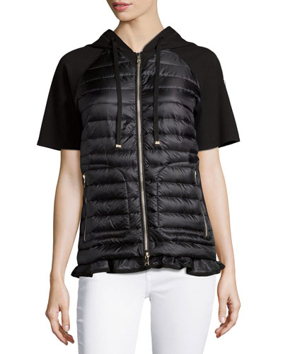 Short-Sleeve Puffer Cardigan, Black
