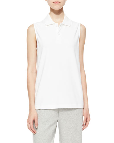 Sleeveless Polo Top, White