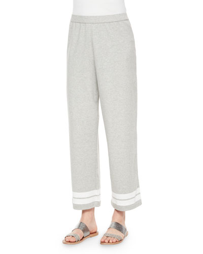Striped Cropped Pants, Heather Gray, Women