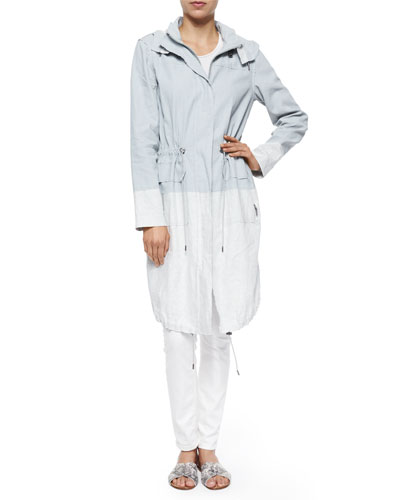 Kendra Colorblock Long Coat, Pale Cloud
