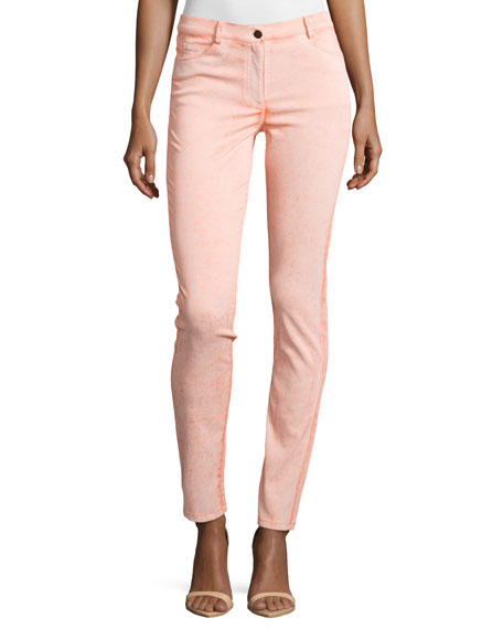 Mid-Rise Skinny Denim Jeans, Tangelo
