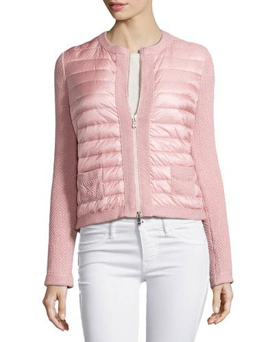 Zip-Front Puffer Cardigan, Light Pink