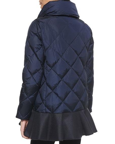 Vouglans Flounce-Hem Puffer Coat, Black/Navy