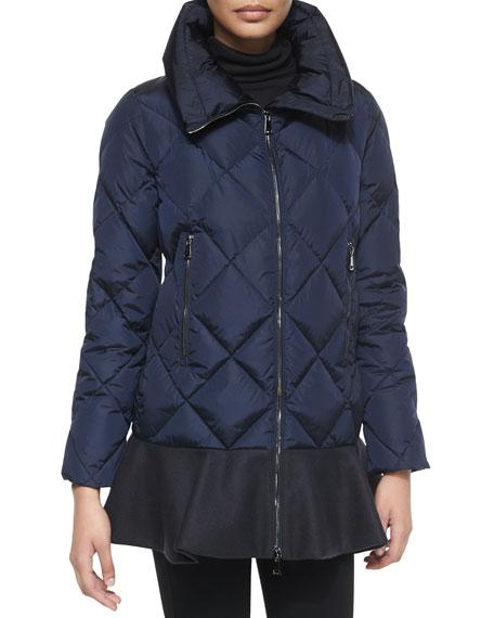 Moncler Vouglans Flounce-Hem Puffer Coat, Black/Navy