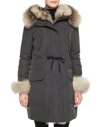Verteuil Fur-Trim Hooded Puffer Coat, Olive