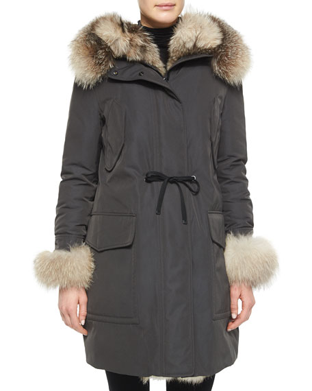 Verteuil Fur-Trim Hooded Puffer Coat, Olive