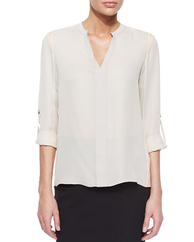 Layne Tabbed-Sleeve Colorblock Blouse