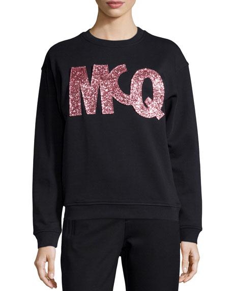 McQ Alexander McQueen Classic Glitter Logo Sweatshirt, Darkest